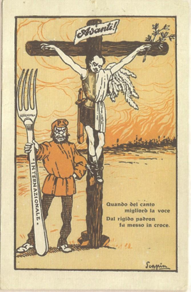 cartolina satirica di Mussolini con Turati, 1914