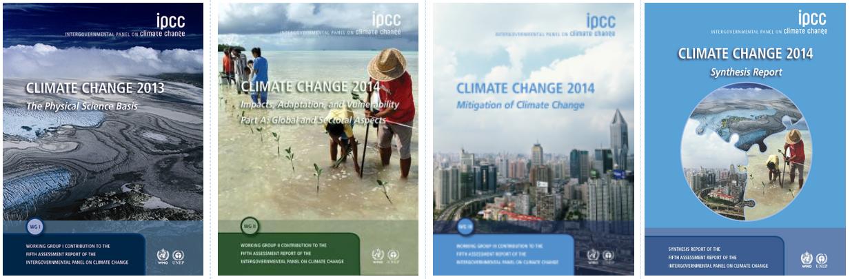 Le copertine dei blocchi di documenti del quinto Rapporto di Valutazione, pubblicati dall'IPCC sul proprio sito web.