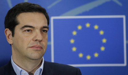 epa04603200 Greek Prime Minister Alexis Tsipras gives a press briefing at the end of the meeting with President of the European Parliament Martin Schulz (not pictured) at the European Parliament in Brussels, Belgium, 04 February 2015. Greek Prime Minister Alexis Tsipras met with European Union officials in Brussels during a week of intense diplomatic efforts by Athens' new government to renegotiate the terms of its international bailout.  EPA/OLIVIER HOSLET