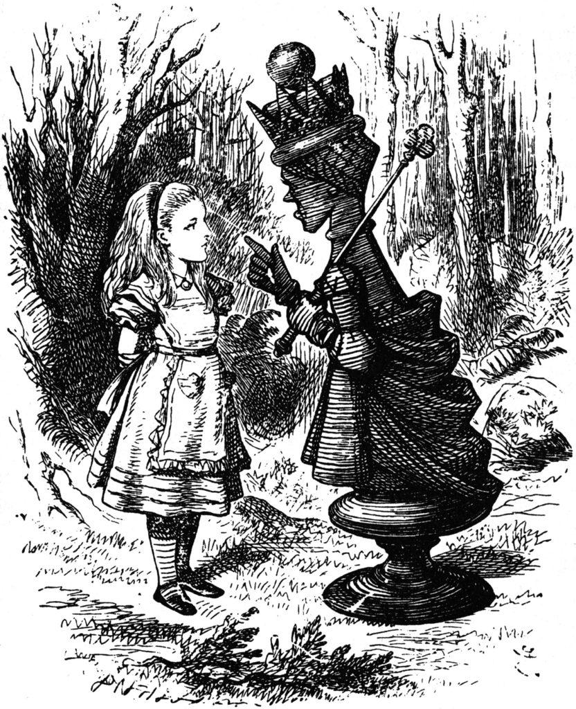 Alice incontra la Regina Rossa. Illustrazioni originali di John Tenniel.