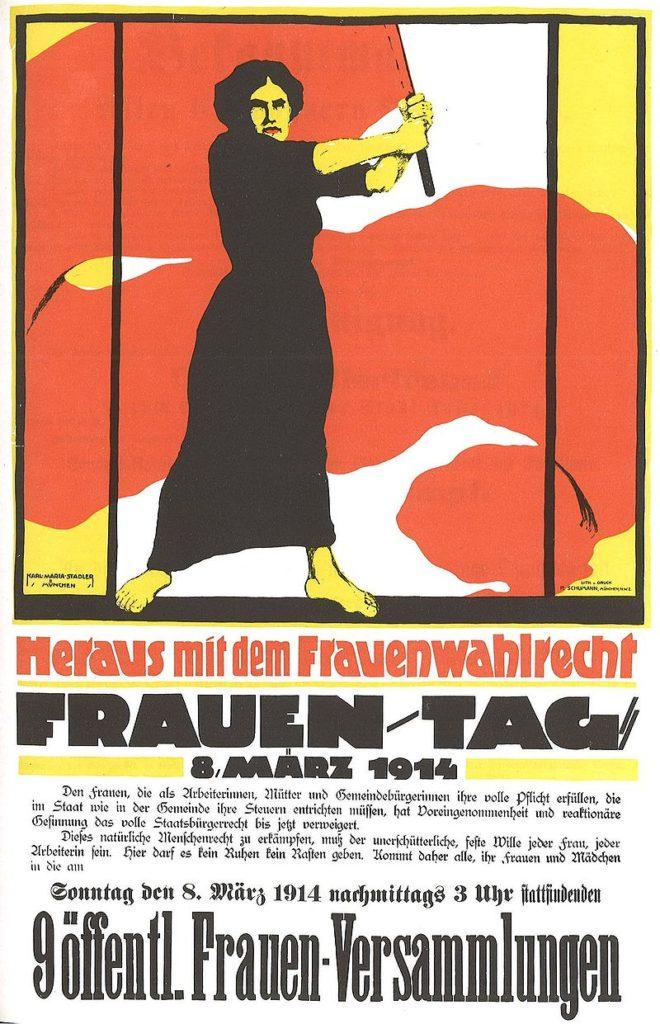Copia di Manifesto tedesco relativo alle locali manifestazioni della Giornata della Donna dell'8 marzo 1914, la cui richiesta principale era il diritto di voto