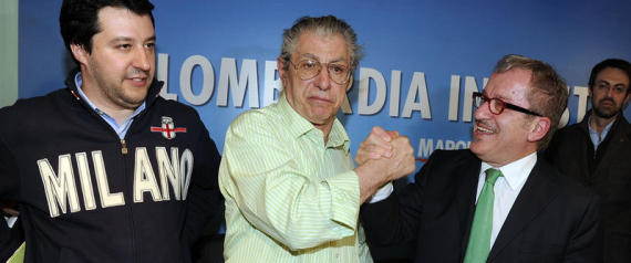 26/02/2013 Milano, via Bellerio sede Lega Nord, conferenza stampa di Roberto Maroni candidato alla presidenza della regione Lombardia con Umberto Bossi e Matteo Salvini