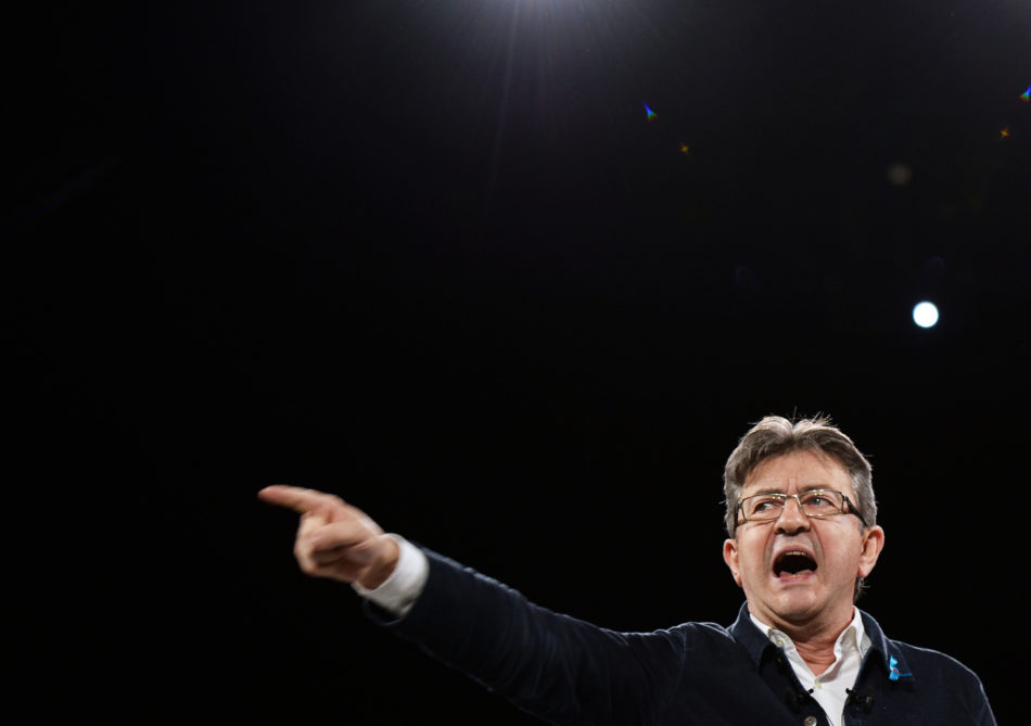 TOPSHOT - French presidential election candidate for the far-left coalition La France insoumise Jean-Luc Melenchon gestures as he speaks on on stage during a campaign rally on April 2, 2017, in Deols, central France. / AFP PHOTO / GUILLAUME SOUVANT        (Photo credit should read GUILLAUME SOUVANT/AFP/Getty Images)