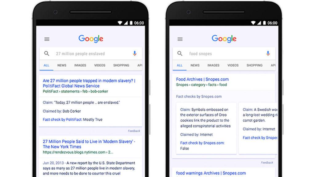 """Nella sezione """"notizie"""" di Google le notizie verificate saranno accompagnate dalla dicitura """"Fact check"""""""