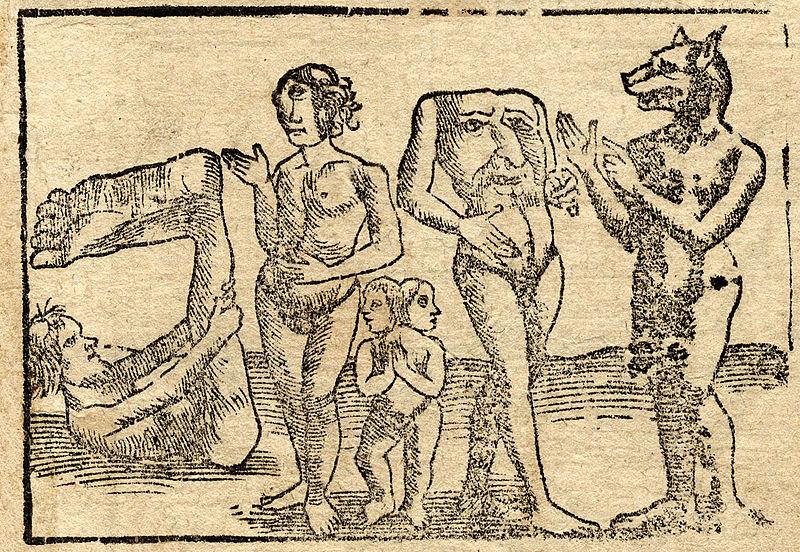 Da destra a sinistra: un monopodo, un ciclope, un bambino a due testa, un blemmo e un cinocefalo conversano amabilmente.