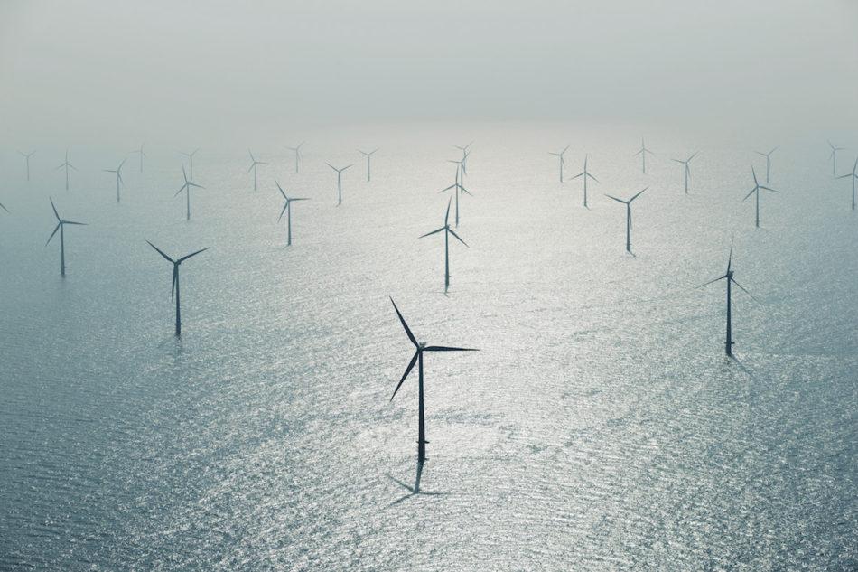 Esbjerg, Jutland, Denmark --- Wind farm in ocean --- Image by © Cameron Davidson/Corbis