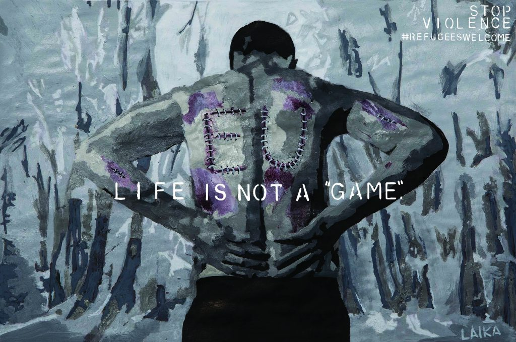 "#1 Life Is Not A ""Game"": Stop Violence - #Refugeeswelcome (opera di Laika MCMLIV)"