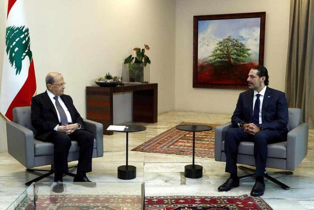 Il Presidente Aoun e il Capo di Governo Hariri in uno dei loro innumerevoli incontri.